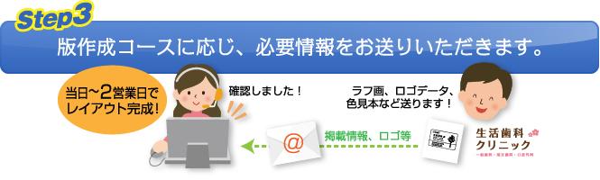 【Step.3】版作成コースに応じ、必要情報をお送りいただきます。