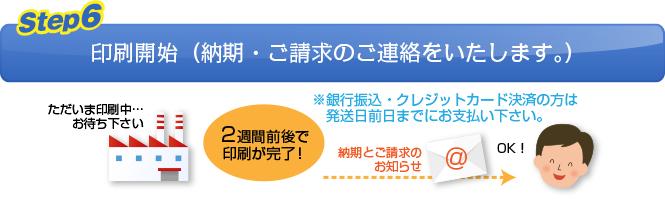 【Step.7】印刷開始(納期・ご請求のご連絡をいたします。)
